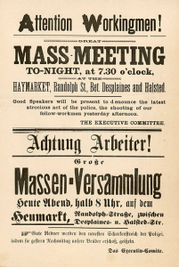 Bilingual 1886 May Day poster