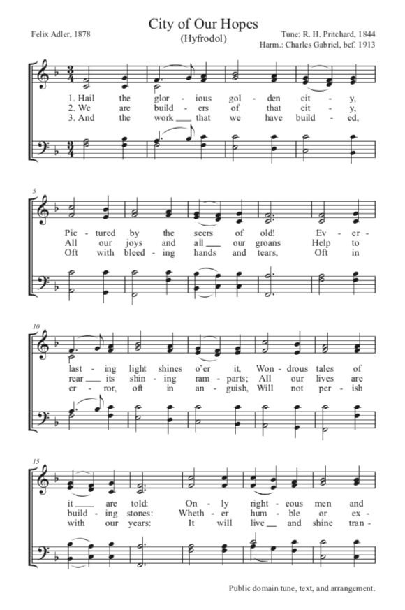 A thumbnail view of a copyright free hymn